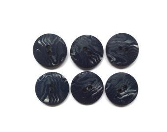 6 Navy Blue Vintage Buttons, Animal Print, Plastic