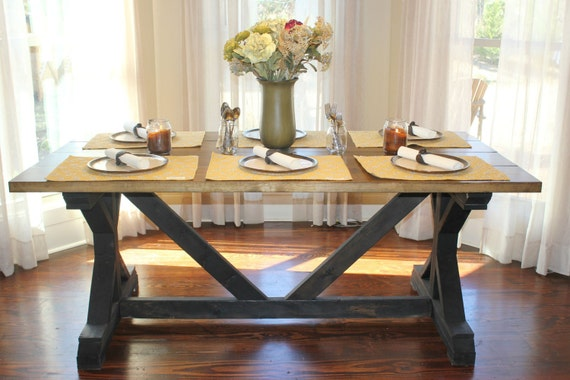 Handcrafted Farmhouse Fancy X Dining Room Table With Or Without Benches