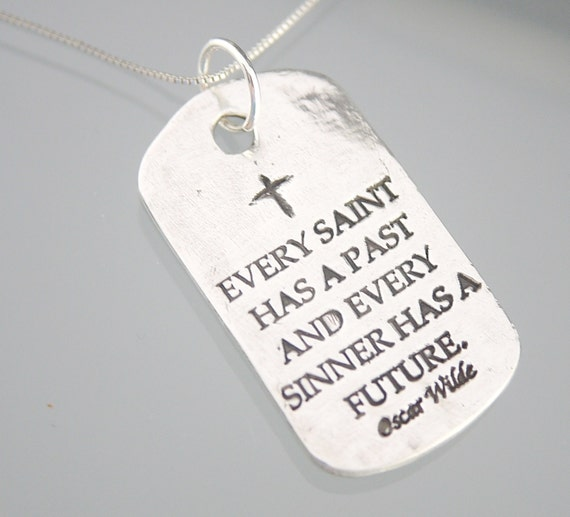 sterling silver dog tag oscar wilde quote by thedesignsbykat