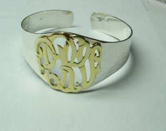 """Monogram cuff  ,   bracelet with 1.25"""" monogram on top, gold plated ,solid sterling silver cuf4"""