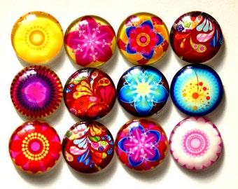 24pcs(12pairs)  12/14/16/18/20/25mm Glass Tranparent  Round Cameos  Flower Series