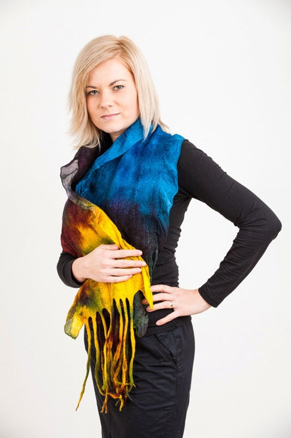 Scarf, silk, wool, nunofelt, felt, felted, blue, yellow, purple, gift, fibre art