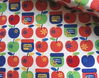 Japanese Fabric Yuwa, Red Apple Fabric, Geometric Fabric,Fruit Fabric, Kids Fabric, Cute Japanese Fabric/Confiture de Pomme/a yard