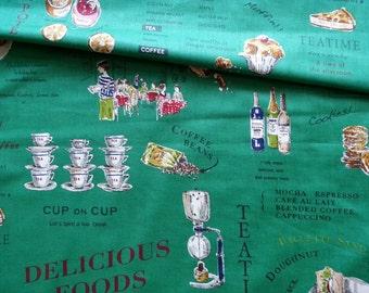 Japanese Fabric Cotton Yuwa - Suzuko Koseki - English Cafe Green - a yard