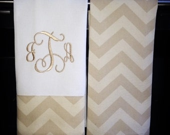 Chevron Kitchen Towels or Hand Towels in Khaki/Natural Chevron | Housewarming Gift | Hostess Gift | Gifts for Her | Wedding