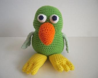 Crocheted Stuffed Amigurumi Parrot
