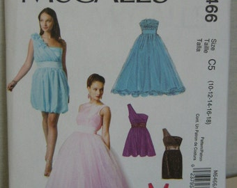 Bridal Bridesmaids Party Dress Pattern, Mc Calls 6466, SZ 10 through 18