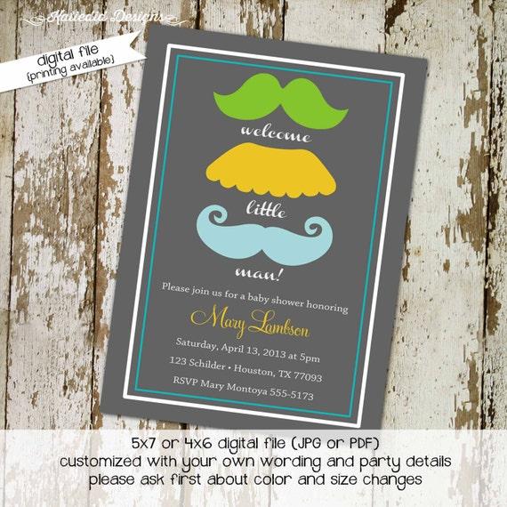 mustache baby shower invitation little man mustache bash gentleman birthday party baptism christening (item 1263) shabby chic invitations