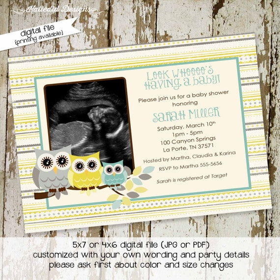 owl baby shower invitations, owl invitation birth announcement or birthday party with owls and photo, digital, printable file (item 1428)