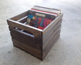 Handmade Wood Record/Vinyl/LP Crate (Dark Walnut)