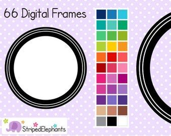 Double Line Circle Digital Frames - Clip Art Frames - Instant Download - Commercial Use