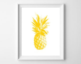 Yellow Pineapple Love - Fun and modern PRINTABLE INSTANT DOWNLOAD 8x10 Digital Art.