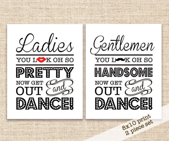 Wedding Bathroom Signs - 8x10 Wedding Reception Restroom Signs ...