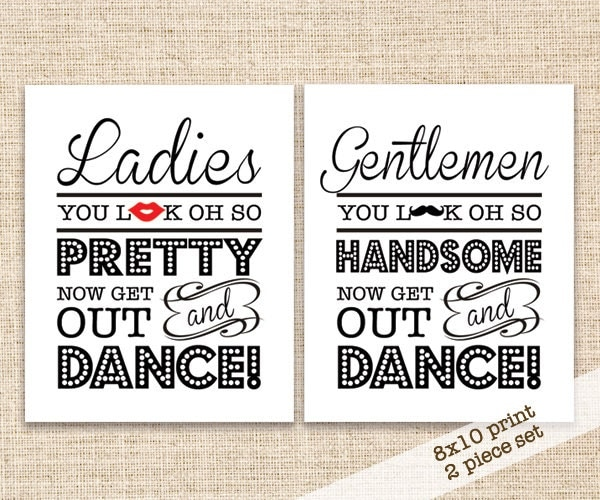 Bathroom Signs Ireland printable wedding bathroom signs 8x10 wedding reception