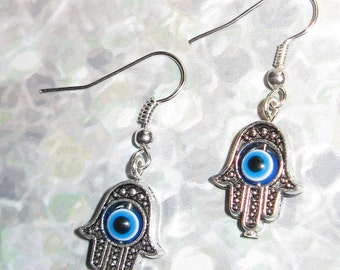 Hamsa Evil Eye Earrings Hand of Fatima Hand of Miriam Blue Eye