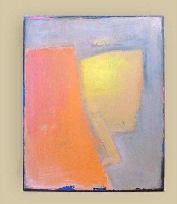 "Pharaoh - Original abstract painting - acrylic painting - yellow orange gray - canvas 16""x 20"" -  by Vesna Antic"