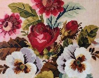 Large Victorian Bouquet of Flowers Needlepoint/Berlinwork in Wood Frame 23 x 23
