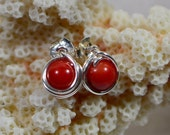 Red Coral Stud Earrings Natural Stone Earrings