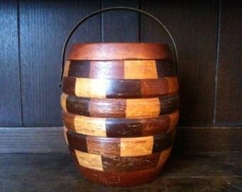 Vintage English wooden biscuit tea sugar barrel container tub pot circa 1970's / English Shop