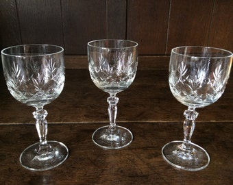 Vintage French glass drinking glasses set of 3 circa 1970's / English Shop