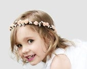 Peach Flower Girl Crown, Flower Girl, Flower Crown, Children's Hair Wreath, Flower Girl Circlet, Pink, Red, Mint, Ready to Ship