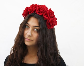 Red Rose Flower Crown, Flower Crown, Red Rose Headband, Red, Floral Crown, Red Roses, Grateful Dead Rose Crown, Boho, Rose Headpiece, Crown