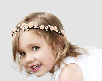 Peach, Ivory, or Mint, Flower Girl Crown, Flower Girl, Flower Crown, Flower Girl Crown, Hair Wreath, Flower Girl Circlet, Pink, Red, Mint,