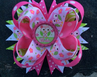Owls Personalized Name Pink & Lime Boutique Bottlecap Hairbow