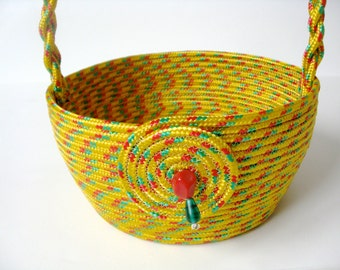 Rope Coiled Basket  Bright Modern Colors  Gift Basket Upcycled Rope
