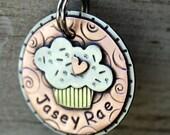 Dog Tag- Custom pet ID tag- Dog Tag- personalized metal Cupcake tag