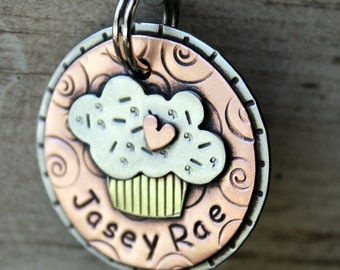 Dog Tag- Custom pet ID tag- Dog Tag- personalized metal Cupcake tag