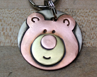 Large Dog ID tag with Bear- Large pet name tag- Brutus