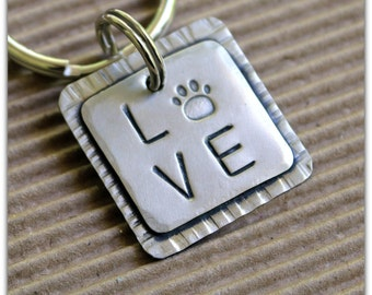 LOVE Dogs Key Chain- key chain with paw as part of the word Love- I love my dog
