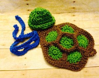 Crochet baby ninja turtle cape, newborn prop, newborn photography prop