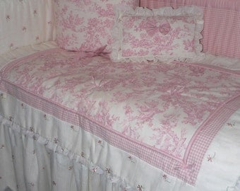 READY TO SHIP-7Piece Nursery Bedding In toile pattern/embroidered sheer/gingham & cotton-Ready to Ship