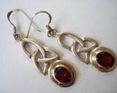 Vintage Earrings Celtic Red Glass Sterling Silver Pierced