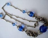 Art Deco Necklace Neiger Chrome and Blue Glass Beads 1920's 1930's