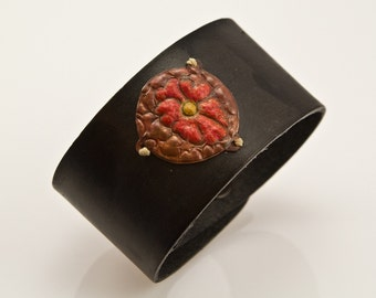 Copper Flower and Leather Cuff