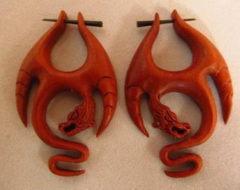 Wood Flying Naga Dragon Fake Gauge Earrings