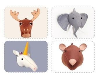PDF Pattern, Faux Taxidermy Tutorial, DIY Plush Felt Deer