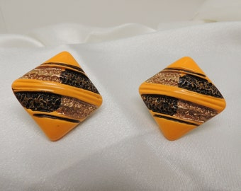 Vintage Goldenrod Clip On Earrings