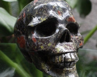 """GLORIOUS 3.9"""" Natural Plum Blossom Carved Crystal Skull 1.46 LB Healing C0515"""