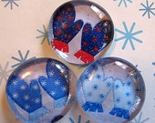Glass Marble Pebble Magnets Mittens Winter  Snow  Blue  Red  Holiday Christmas Gift  Xmas Fridge Magnets  Set of 3