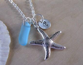 Aqua Sea Glass Jewelry Initial Starfish Charm Cobalt Blue Beach Glass Monogram Necklaces Bridesmaids Personalized Beach Wedding