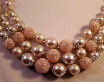 Vintage Necklace Triple Strand Light Pink and White