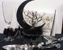 Nightmare before Christmas Wedding Cake topper Lot Glasses Server set Guest Book jack & sally