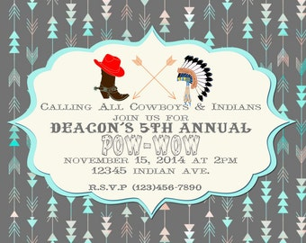Cowboys and Indians Printable Party Invitation