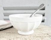 French Cafe au Lait Bol Bowl plain White fluted simple minimalist
