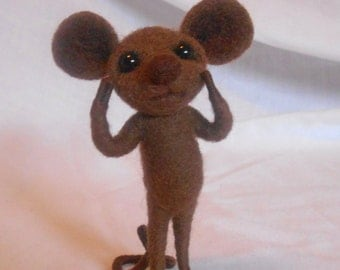 Needle Felted Chocolate Brown Mouse - FREE SHIPPING to US and Canada