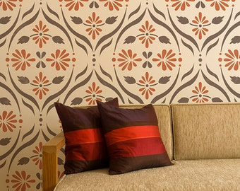 Modern Flower Trellis Allover Wall Stencil for Wallpaper Look